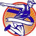 Male Marathon Runner Running Retro Woodcut by Aloysius Patrimonio