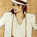 Michael Jackson Original Coffee Painting by Georgeta  Blanaru