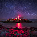 Milky Way Over Nubble Lighthouse by Adam Woodworth