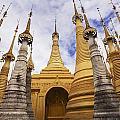 Ruined Pagodas At Shwe Inn Thein Paya by Chris Caldicott