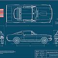 Shelby Mustang Gt350 Blueplanprint by Douglas Switzer
