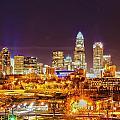 Skyline Of Uptown Charlotte North Carolina At Night by Alex Grichenko