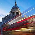 St. Pauls Cathedral And Light Trails by Mark Thomas