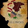Usa American Illinois State Map Outline With Grunge Effect Flag  by Matthew Gibson