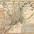 1729 Moll Map Of New York New England And Pennsylvania  by Paul Fearn