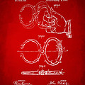 1891 Police Nippers Handcuffs Patent Artwork - Red by Nikki Marie Smith