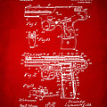 1911 Automatic Firearm Patent Artwork - Red by Nikki Marie Smith