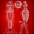 1921 Explosive Missle Patent Minimal Red by Nikki Marie Smith