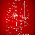 1948 Sailboat Patent Artwork - Red by Nikki Marie Smith