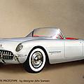 1953 Corvette Classic Vintage Sports Car Automotive Art by John Samsen