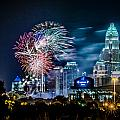 4th Of July Firework Over Charlotte Skyline by Alexandr Grichenko