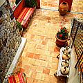 Courtyard of a villa Print by Elena Elisseeva