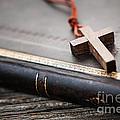 Cross On Bible by Elena Elisseeva