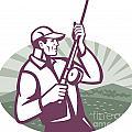Fly Fisherman Fishing Retro Woodcut by Aloysius Patrimonio