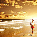 Healthy Woman Running On The Beach by Anna Omelchenko