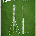 Mccarty Gibson Electric Guitar Patent Drawing From 1958 - Green by Aged Pixel