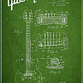 Mccarty Gibson Les Paul Guitar Patent Drawing From 1955 - Green by Aged Pixel