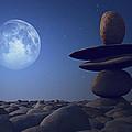 Stacked Stones In Moonlight by Aleksey Tugolukov