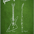 Mccarty Gibson Electrical Guitar Patent Drawing From 1958 - Green by Aged Pixel