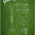 Mccarty Gibson Stringed Instrument Patent Drawing From 1969 - Green by Aged Pixel