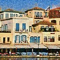 Painting Of The Old Port Of Chania by George Atsametakis