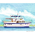 37 Foot Marine Trader 37 Trawler Yacht At Anchor by Jack Pumphrey