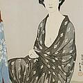 A Beauty In A Black Kimono by Hashiguchi