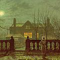 A Lady In A Garden By Moonlight by John Atkinson Grimshaw