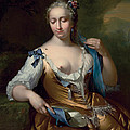 A Lady In A Landscape With A Fly On Her Shoulder by Frans van der Mijn