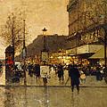 A Parisian Street Scene by Eugene Galien-Laloue