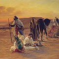 A Rest in the Desert Print by Otto Pilny