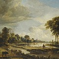 A River Landscape With Figures And Cattle by Gianfranco Weiss