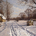A Sleigh Ride Through A Winter Landscape by Peder Monsted