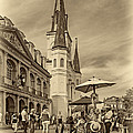 A Sunny Afternoon In Jackson Square Sepia by Steve Harrington