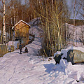 A Winter Landscape With Children Sledging by Peder Monsted