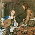 A Woman Playing The Theorbo-lute And A Cavalier by Gerard Terborch