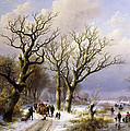 A Wooded Winter Landscape With Figures by Verboeckhoven and Klombeck