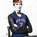 Abe Lincoln In A Carmelo Anthony New York Knicks Jersey by Roly Orihuela