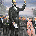 Abraham lincoln Delivering the Gettysburg Address Print by American School
