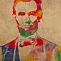 Abraham Lincoln Watercolor Portrait On Worn Distressed Canvas by Design Turnpike