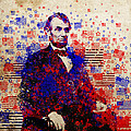 Abraham Lincoln With Flags by Bekim Art