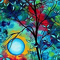 Abstract Art Landscape Tree Blossoms Sea Painting Under The Light Of The Moon I  By Madart by Megan Duncanson