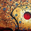 Abstract Art Landscape Tree Metallic Gold Texture Painting Free As The Wind By Madart by Megan Duncanson
