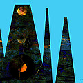 abstract - art- Mystical Moons  by Ann Powell