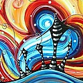Abstract Art Original Colorful Funky House Painting Home On The Hill By Madart by Megan Duncanson