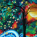 Abstract Art Original Landscape Painting Bold Circle Of Life Design Dance The Night Away By Madart by Megan Duncanson