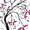 Abstract Artwork Modern Original Landscape Pink Blossom Tree Art Pink Foliage By Madart by Megan Duncanson