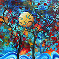 Abstract Contemporary Colorful Landscape Painting Lovers Moon By Madart by Megan Duncanson