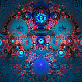 Abstract Fractal Art Blue And Red by Matthias Hauser