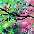 Abstract Landscape Bird And Blossoms Original Painting Birds Delight By Madart by Megan Duncanson